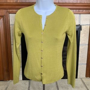Ann Taylor Olive Long Sleeve Button Up Sweater XS